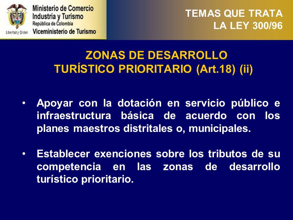 RECURSO TURÍSTICO (Art.23 y 24) TEMAS QUE TRATA LA LEY 300/96 El MCIT podrá solicitar a los Concejos Distritales o Municipales la declaratoria como recursos turísticos de utilidad pública Zonas urbanas o rurales Plazas Vías Monumentos Construcciones