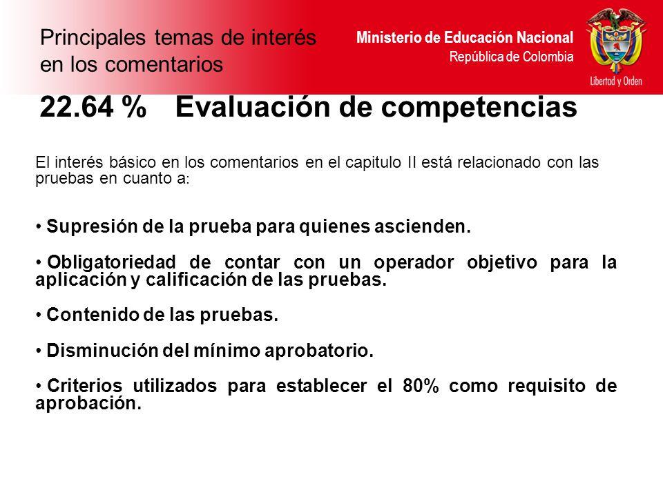 Ministerio de Educación Nacional República de Colombia 22.64 % Evaluación de competencias El interés básico en los comentarios en el capitulo II está relacionado con las pruebas en cuanto a : Supresión de la prueba para quienes ascienden.