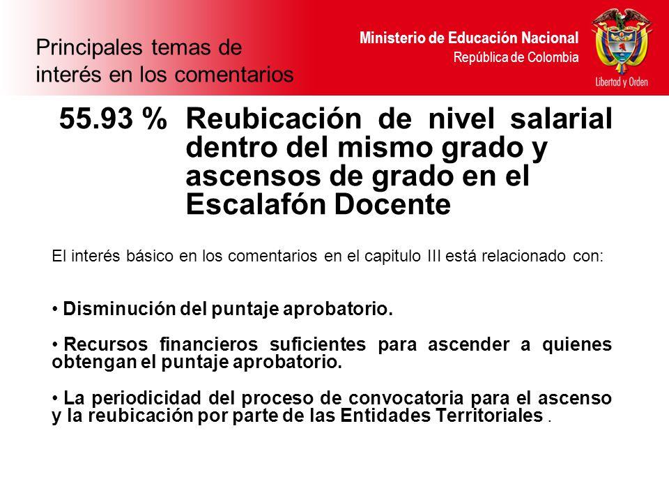 Ministerio de Educación Nacional República de Colombia 55.93 % Reubicación de nivel salarial dentro del mismo grado y ascensos de grado en el Escalafón Docente El interés básico en los comentarios en el capitulo III está relacionado con: Disminución del puntaje aprobatorio.
