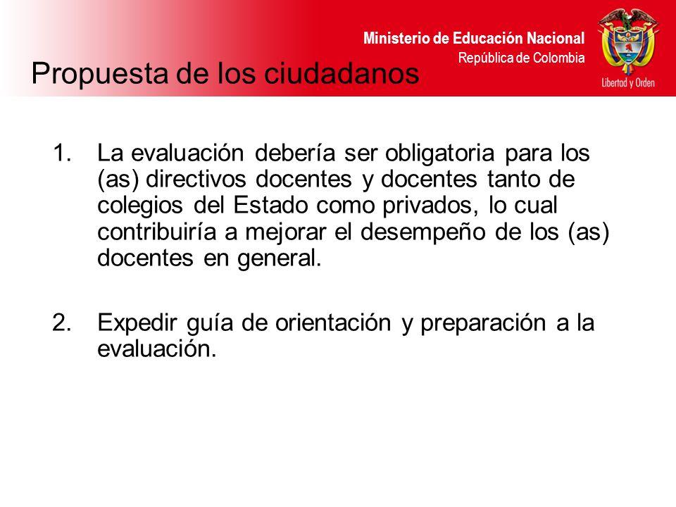 Ministerio de Educación Nacional República de Colombia Propuesta de los ciudadanos 1.La evaluación debería ser obligatoria para los (as) directivos do