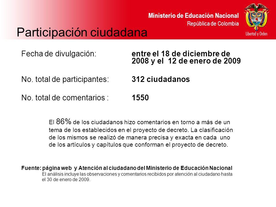 Ministerio de Educación Nacional República de Colombia Participación ciudadana Fecha de divulgación:entre el 18 de diciembre de 2008 y el 12 de enero