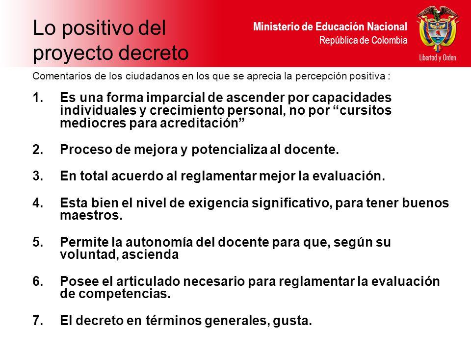 Ministerio de Educación Nacional República de Colombia Comentarios de los ciudadanos en los que se aprecia la percepción positiva : 1.Es una forma imparcial de ascender por capacidades individuales y crecimiento personal, no por cursitos mediocres para acreditación 2.Proceso de mejora y potencializa al docente.
