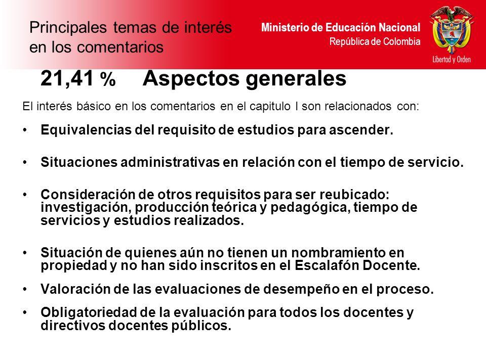 Ministerio de Educación Nacional República de Colombia Principales temas de interés en los comentarios 21,41 % Aspectos generales El interés básico en los comentarios en el capitulo I son relacionados con: Equivalencias del requisito de estudios para ascender.