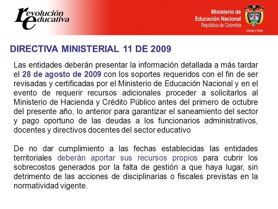 DIRECTIVA MINISTERIAL 11 DE 2009 Las entidades deberán presentar la información detallada a más tardar el 28 de agosto de 2009 con los soportes requer