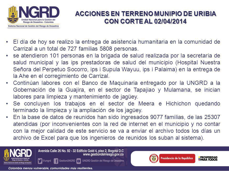 ACCIONES EN TERRENO MUNIPIO DE URIBIA CON CORTE AL 02/04/2014 El día de hoy se realizo la entrega de asistencia humanitaria en la comunidad de Carrizal a un total de 727 familias 5808 personas.