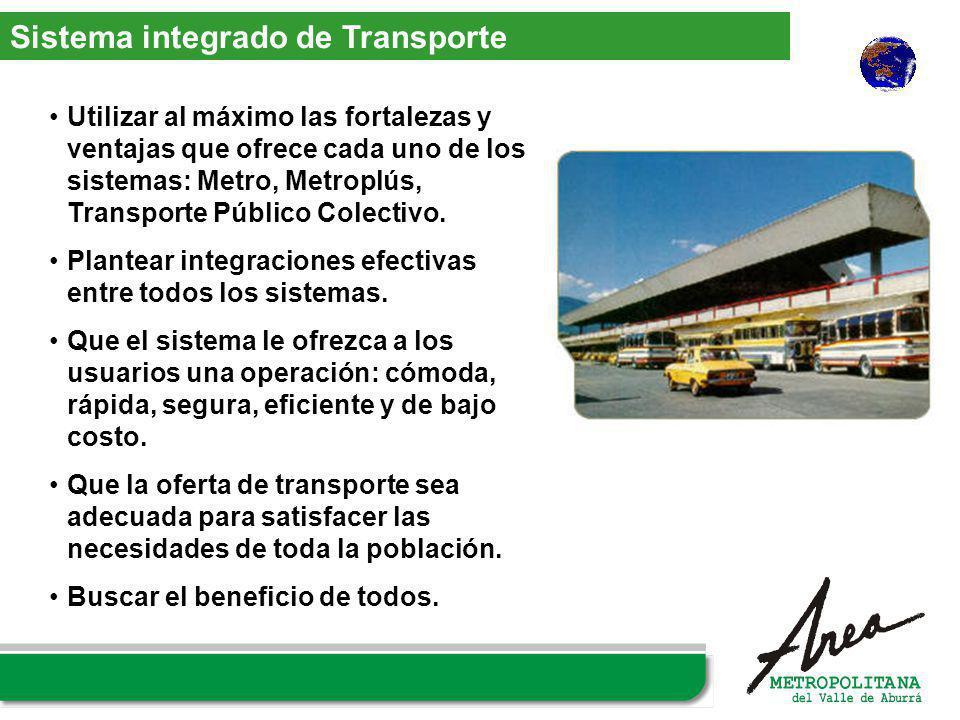 Utilizar al máximo las fortalezas y ventajas que ofrece cada uno de los sistemas: Metro, Metroplús, Transporte Público Colectivo. Plantear integracion