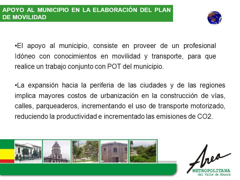 El apoyo al municipio, consiste en proveer de un profesional Idóneo con conocimientos en movilidad y transporte, para que realice un trabajo conjunto