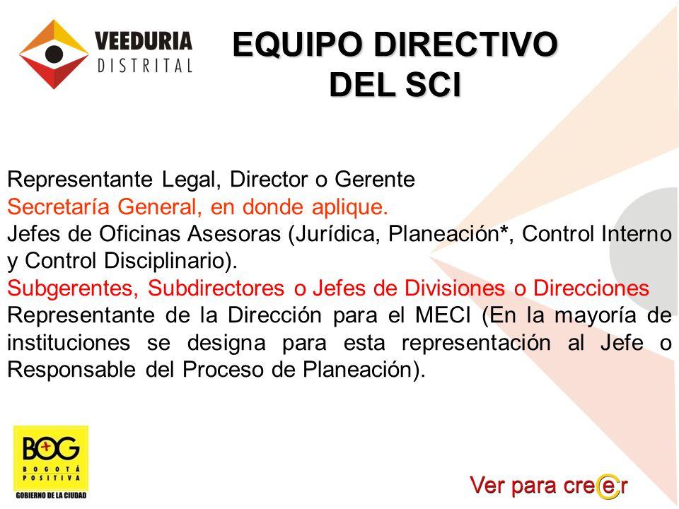 EQUIPO DIRECTIVO DEL SCI Representante Legal, Director o Gerente Secretaría General, en donde aplique. Jefes de Oficinas Asesoras (Jurídica, Planeació