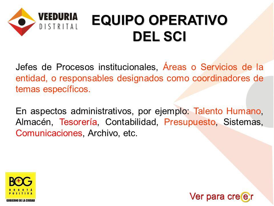 EQUIPO OPERATIVO DEL SCI Jefes de Procesos institucionales, Áreas o Servicios de la entidad, o responsables designados como coordinadores de temas esp