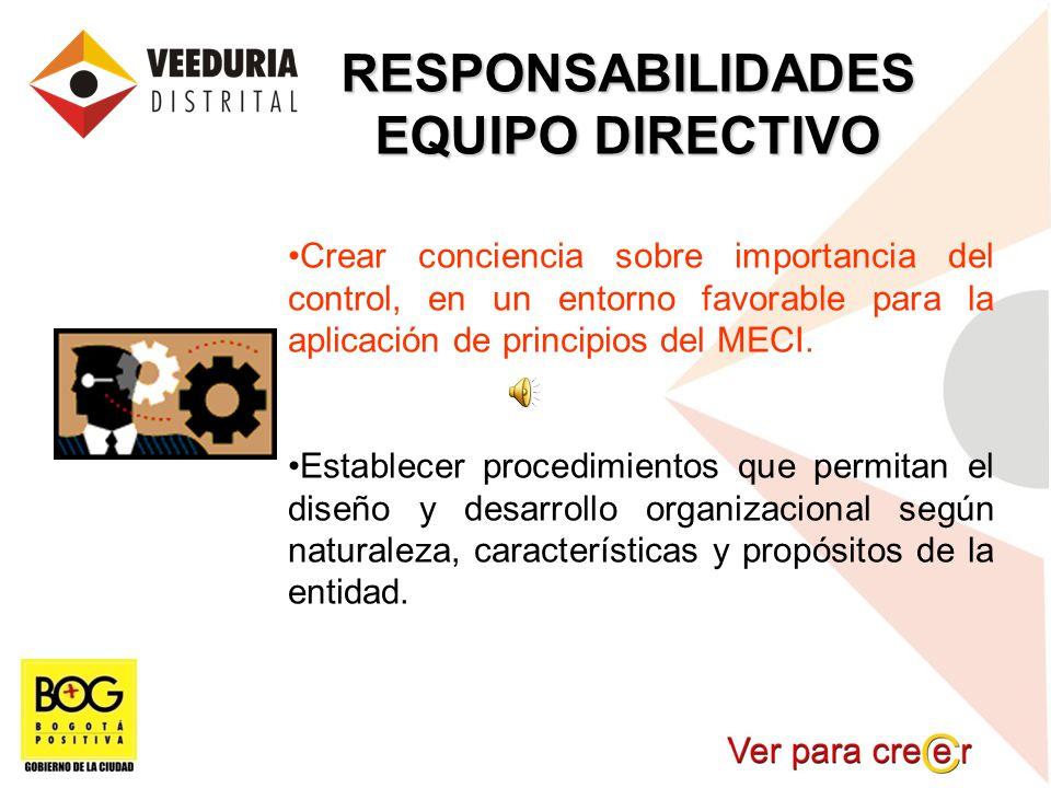 RESPONSABILIDADES EQUIPO DIRECTIVO Crear conciencia sobre importancia del control, en un entorno favorable para la aplicación de principios del MECI.