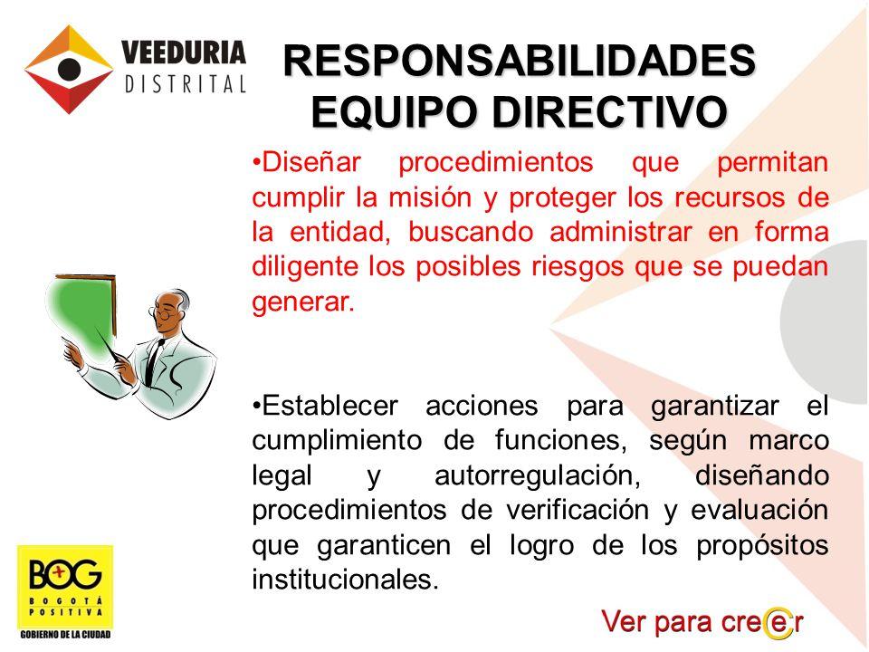 RESPONSABILIDADES EQUIPO DIRECTIVO Diseñar procedimientos que permitan cumplir la misión y proteger los recursos de la entidad, buscando administrar e