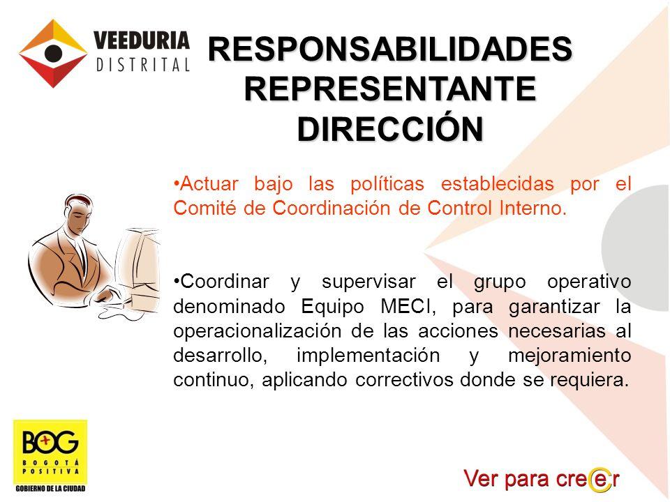 RESPONSABILIDADESREPRESENTANTEDIRECCIÓN Actuar bajo las políticas establecidas por el Comité de Coordinación de Control Interno. Coordinar y supervisa