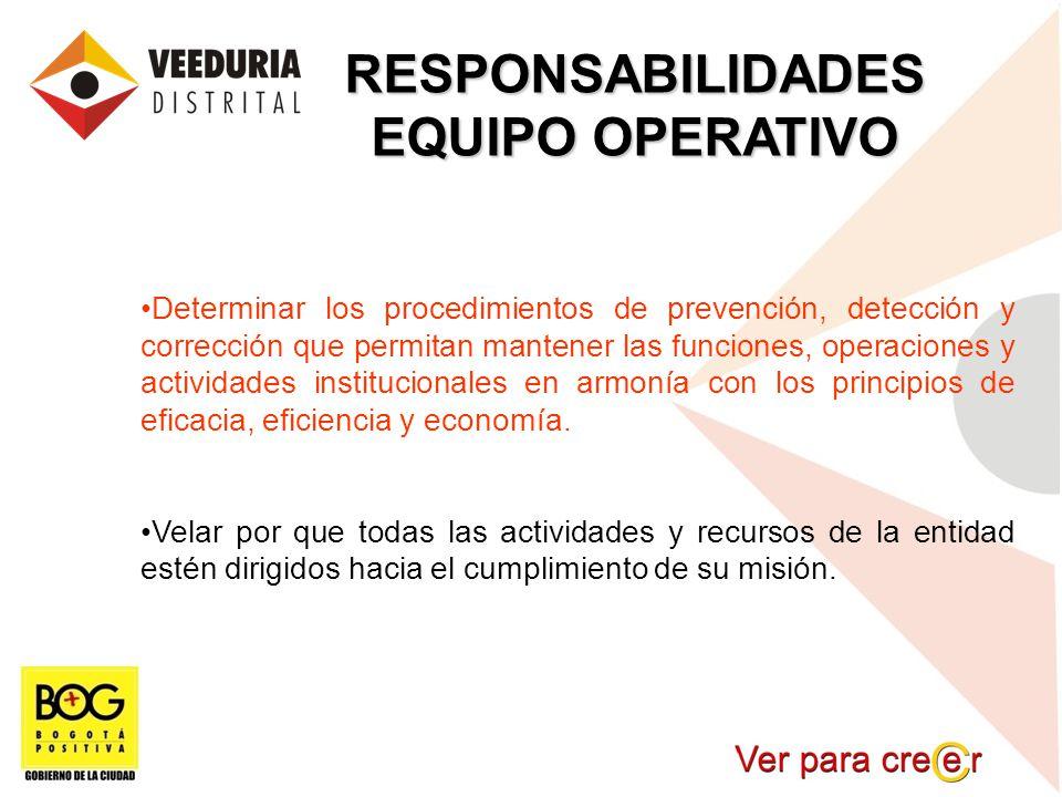 RESPONSABILIDADES EQUIPO OPERATIVO Determinar los procedimientos de prevención, detección y corrección que permitan mantener las funciones, operacione