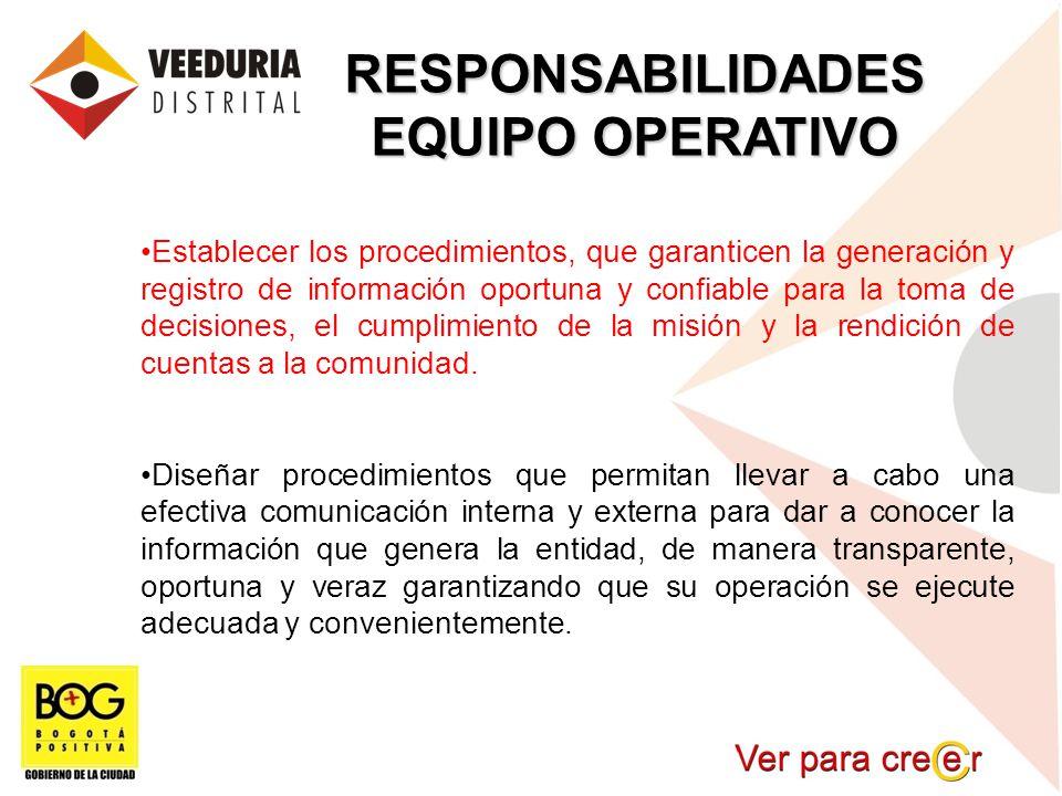 RESPONSABILIDADES EQUIPO OPERATIVO Establecer los procedimientos, que garanticen la generación y registro de información oportuna y confiable para la