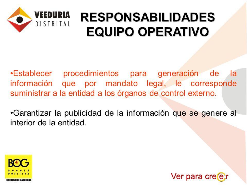 RESPONSABILIDADES EQUIPO OPERATIVO Establecer procedimientos para generación de la información que por mandato legal, le corresponde suministrar a la