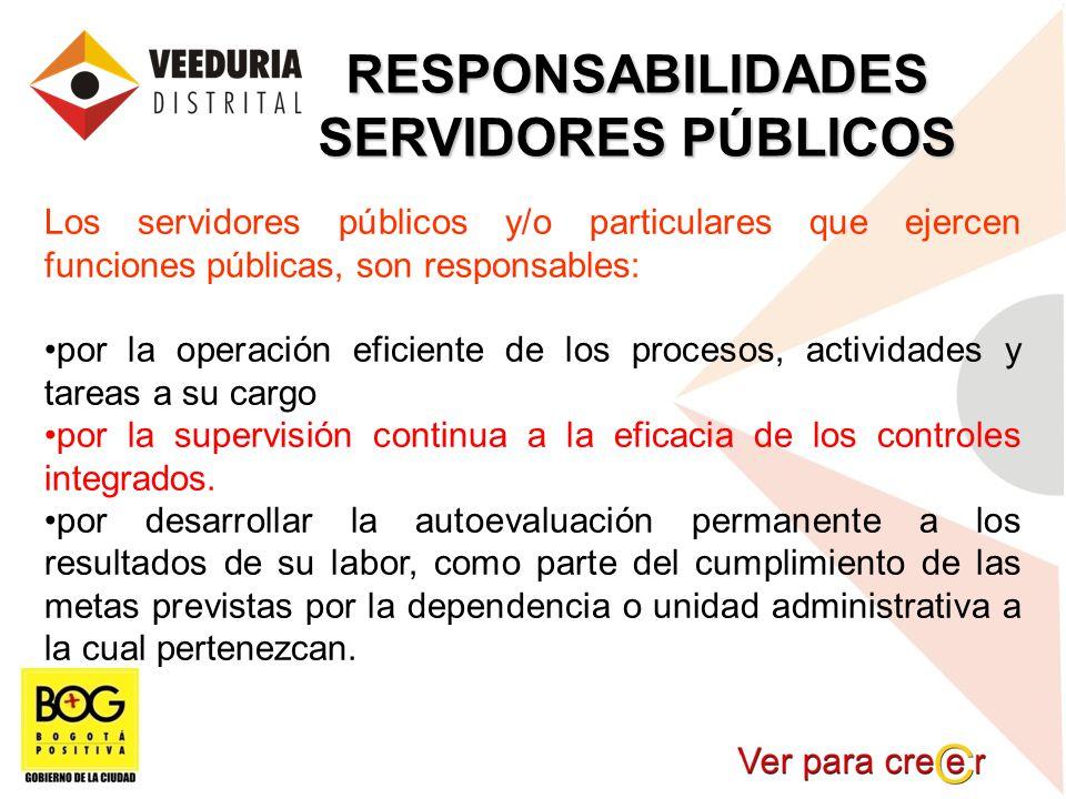RESPONSABILIDADES SERVIDORES PÚBLICOS Los servidores públicos y/o particulares que ejercen funciones públicas, son responsables: por la operación efic