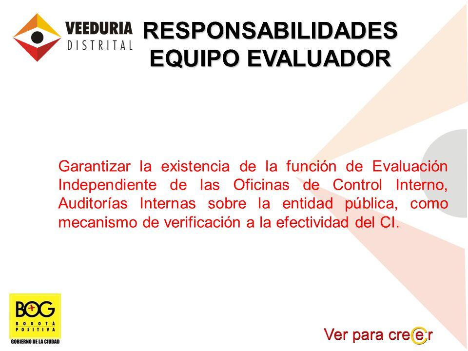 RESPONSABILIDADES EQUIPO EVALUADOR Garantizar la existencia de la función de Evaluación Independiente de las Oficinas de Control Interno, Auditorías I