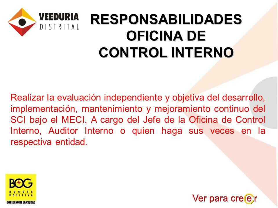 RESPONSABILIDADES OFICINA DE CONTROL INTERNO Realizar la evaluación independiente y objetiva del desarrollo, implementación, mantenimiento y mejoramie