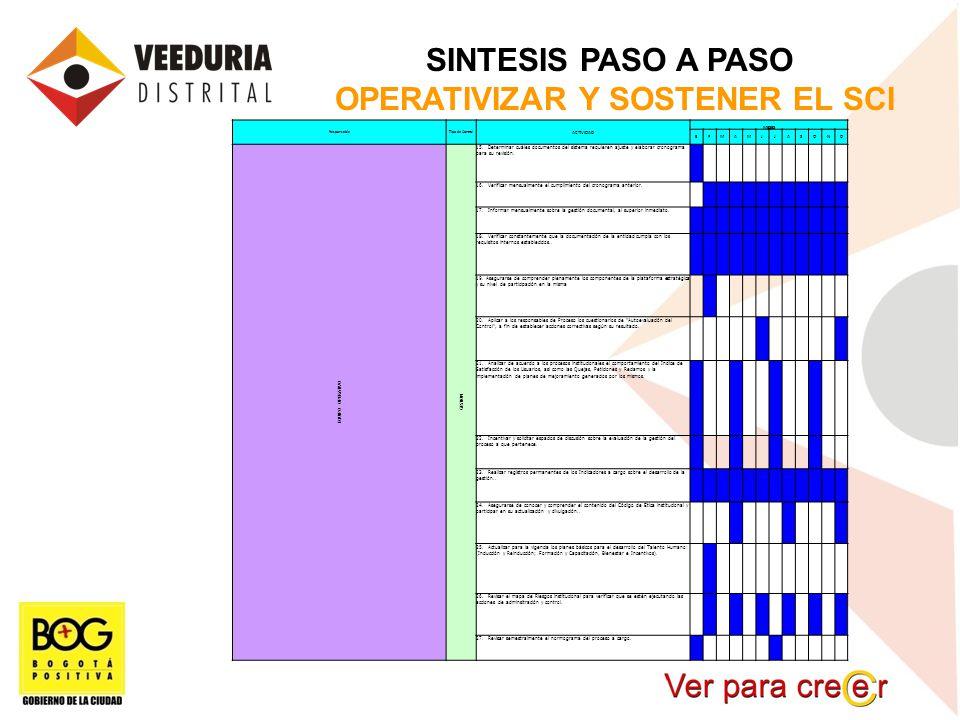 SINTESIS PASO A PASO OPERATIVIZAR Y SOSTENER EL SCI ResponsableTipo de Control ACTIVIDAD MESES EFMAMJJASOND EQUIPO OPERATIVO GESTION 15. Determinar cu