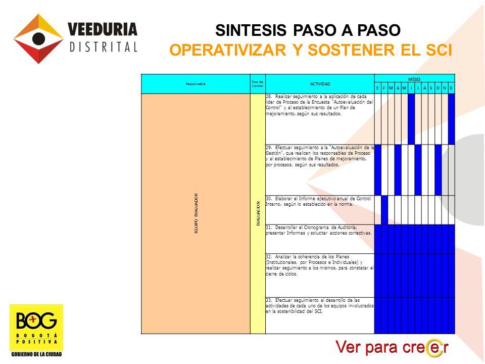 SINTESIS PASO A PASO OPERATIVIZAR Y SOSTENER EL SCI Responsable Tipo de Control ACTIVIDAD MESES EFMAMJJASOND EQUIPO EVALUADOR EVALUACION 28. Realizar