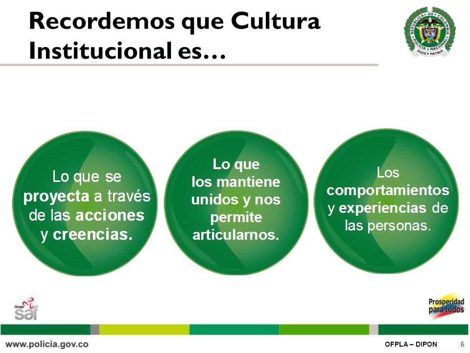 OFPLA – DIPON 7 Los objetivos de gestionar nuestra Cultura Institucional son…