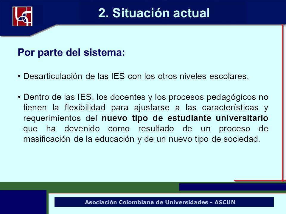 Por parte del sistema: Desarticulación de las IES con los otros niveles escolares. Dentro de las IES, los docentes y los procesos pedagógicos no tiene