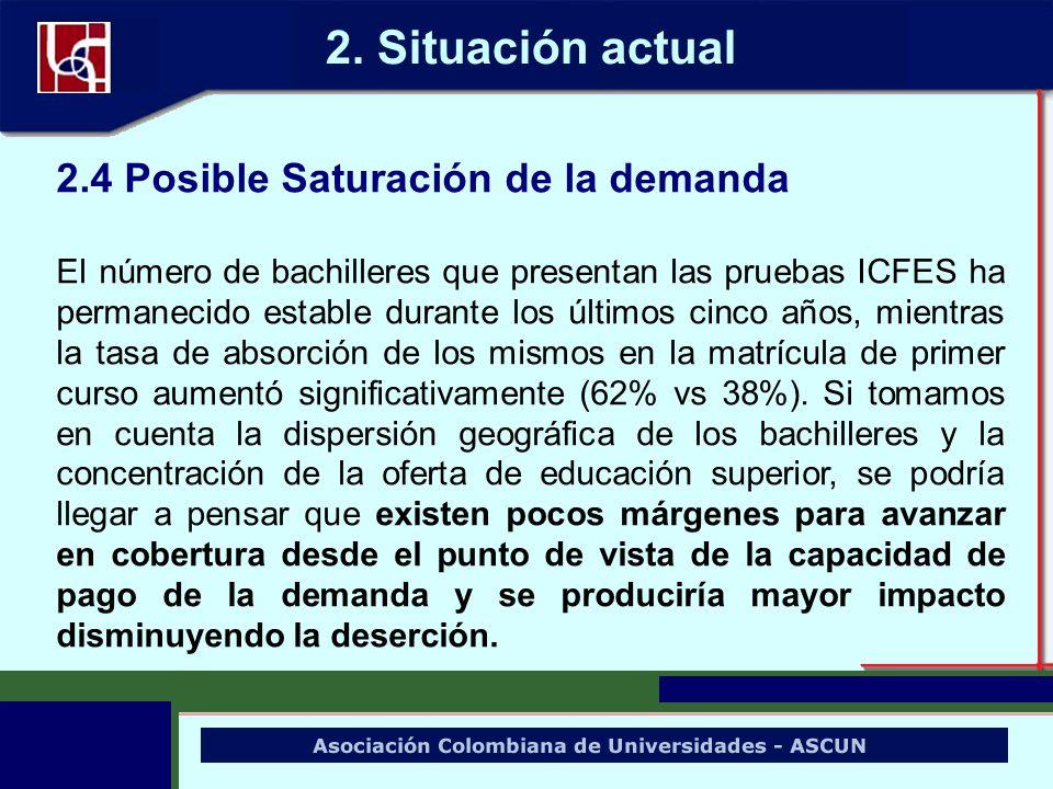 2.4 Posible Saturación de la demanda El número de bachilleres que presentan las pruebas ICFES ha permanecido estable durante los últimos cinco años, m