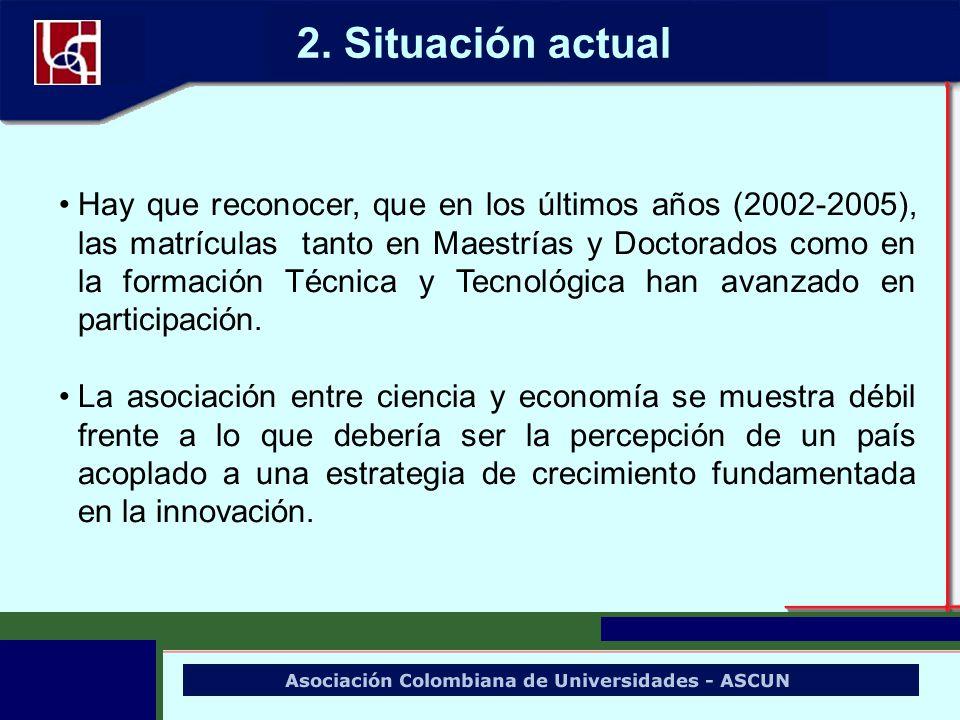 Hay que reconocer, que en los últimos años (2002-2005), las matrículas tanto en Maestrías y Doctorados como en la formación Técnica y Tecnológica han