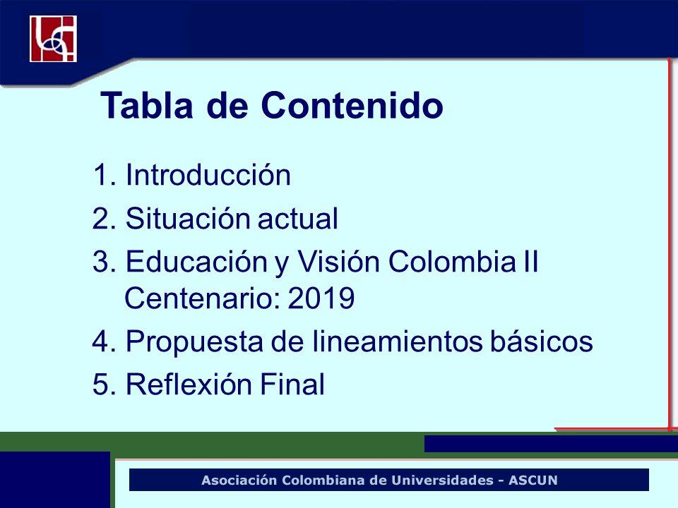 1. Introducción 2. Situación actual 3. Educación y Visión Colombia II Centenario: 2019 4. Propuesta de lineamientos básicos 5. Reflexión Final Tabla d