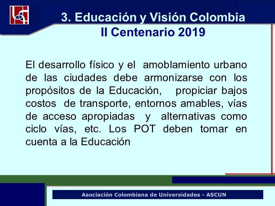 El desarrollo físico y el amoblamiento urbano de las ciudades debe armonizarse con los propósitos de la Educación, propiciar bajos costos de transport
