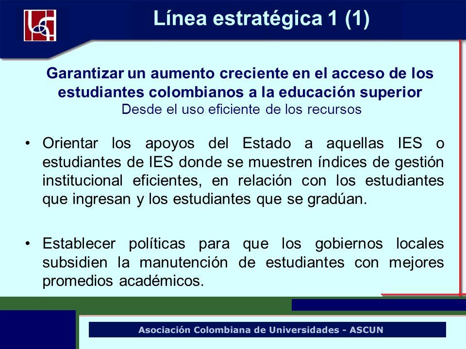 Línea estratégica 1 (1) Orientar los apoyos del Estado a aquellas IES o estudiantes de IES donde se muestren índices de gestión institucional eficient