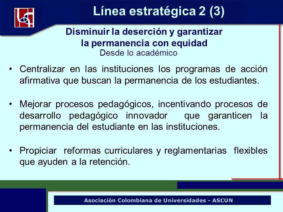 Centralizar en las instituciones los programas de acción afirmativa que buscan la permanencia de los estudiantes. Mejorar procesos pedagógicos, incent