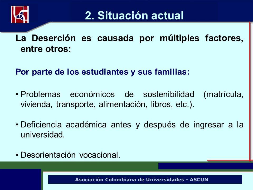 La Deserción es causada por múltiples factores, entre otros: Por parte de los estudiantes y sus familias: Problemas económicos de sostenibilidad (matr
