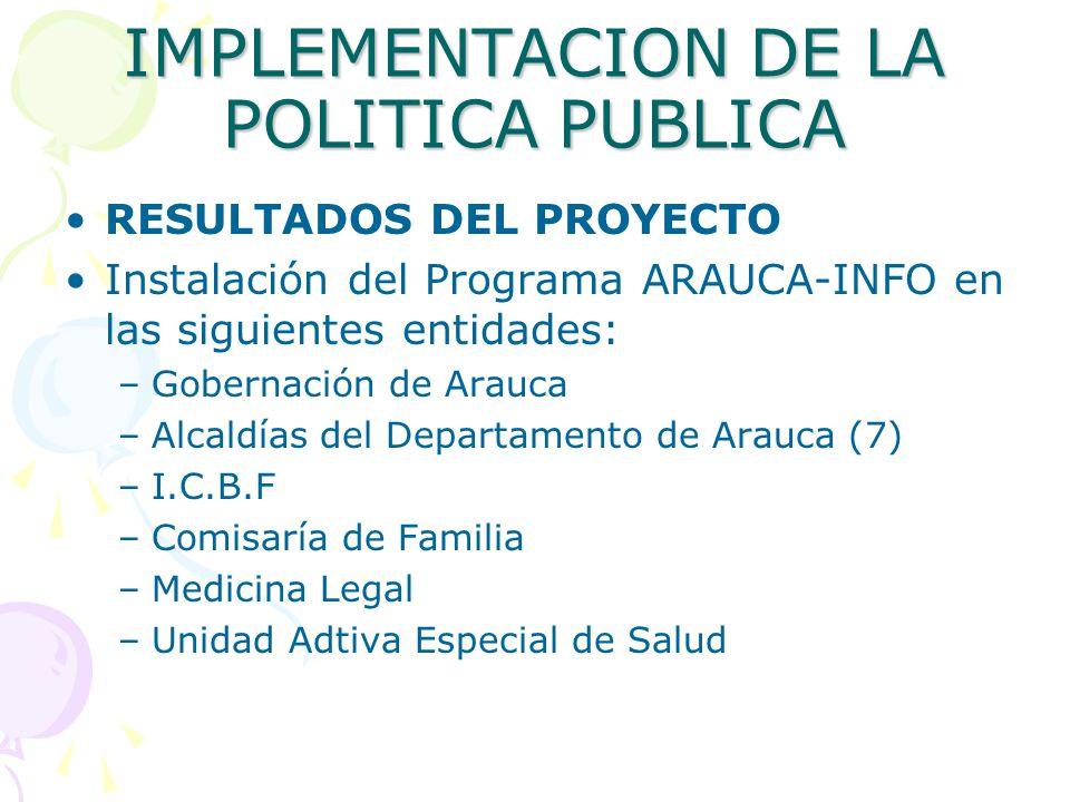 IMPLEMENTACION DE LA POLITICA PUBLICA RESULTADOS DEL PROYECTO Instalación del Programa ARAUCA-INFO en las siguientes entidades: –Gobernación de Arauca