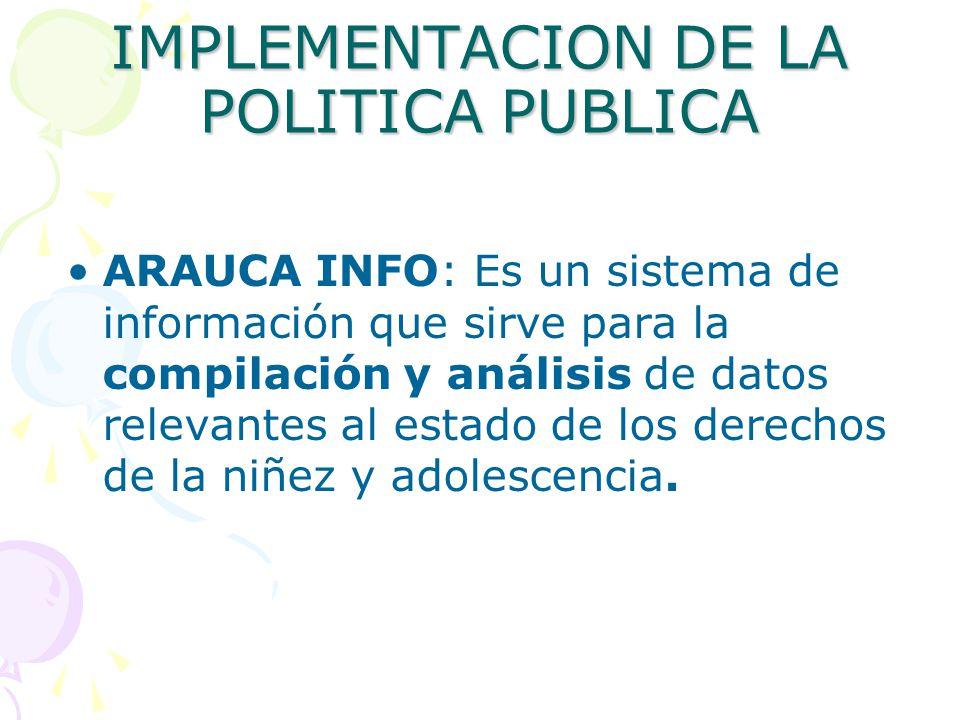 IMPLEMENTACION DE LA POLITICA PUBLICA ARAUCA INFO: Es un sistema de información que sirve para la compilación y análisis de datos relevantes al estado de los derechos de la niñez y adolescencia.