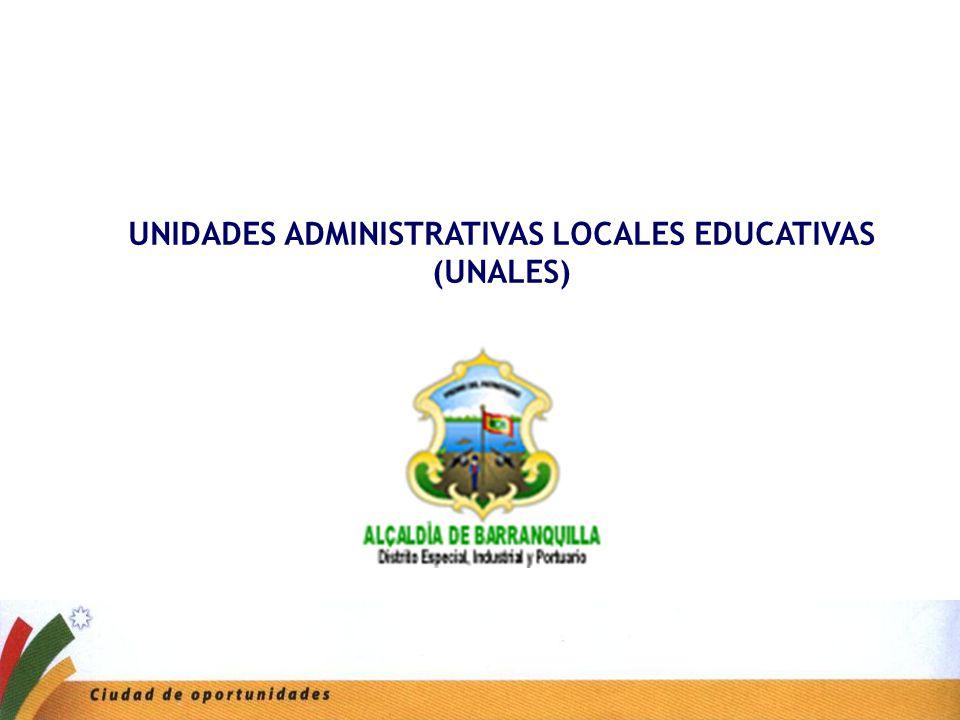 Secretaria de Educación UNIDADES ADMINISTRATIVAS LOCALES EDUCATIVAS (UNALES)