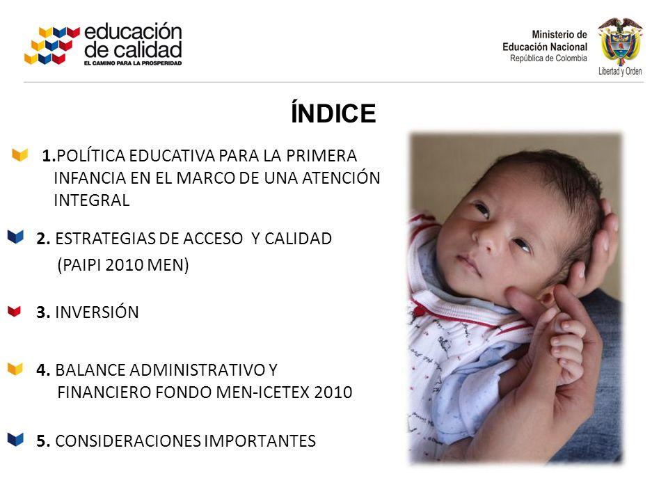 ÍNDICE 4. BALANCE ADMINISTRATIVO Y FINANCIERO FONDO MEN-ICETEX 2010 3. INVERSIÓN 2. ESTRATEGIAS DE ACCESO Y CALIDAD (PAIPI 2010 MEN) 1.POLÍTICA EDUCAT