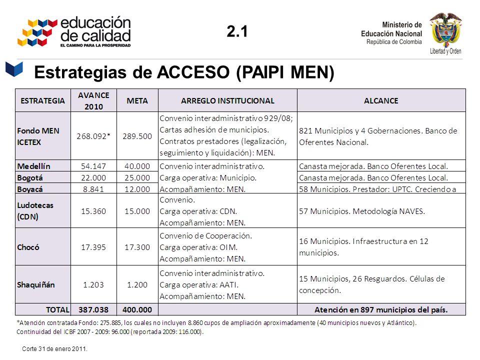 Estrategias de ACCESO (PAIPI MEN) Corte 31 de enero 2011. 2.1