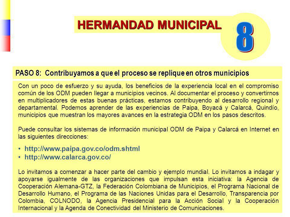 HERMANDAD MUNICIPAL Con un poco de esfuerzo y su ayuda, los beneficios de la experiencia local en el compromiso común de los ODM pueden llegar a municipios vecinos.