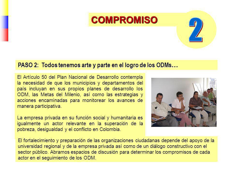COMPROMISO El Artículo 50 del Plan Nacional de Desarrollo contempla la necesidad de que los municipios y departamentos del país incluyan en sus propios planes de desarrollo los ODM, las Metas del Milenio, así como las estrategias y acciones encaminadas para monitorear los avances de manera participativa.
