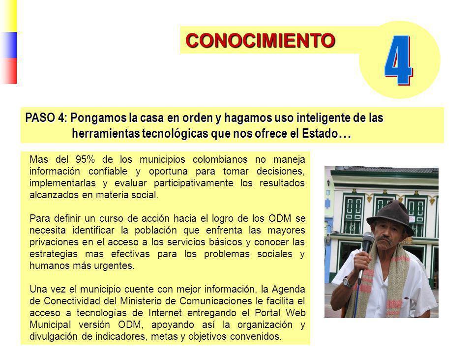 CONOCIMIENTO Mas del 95% de los municipios colombianos no maneja información confiable y oportuna para tomar decisiones, implementarlas y evaluar participativamente los resultados alcanzados en materia social.