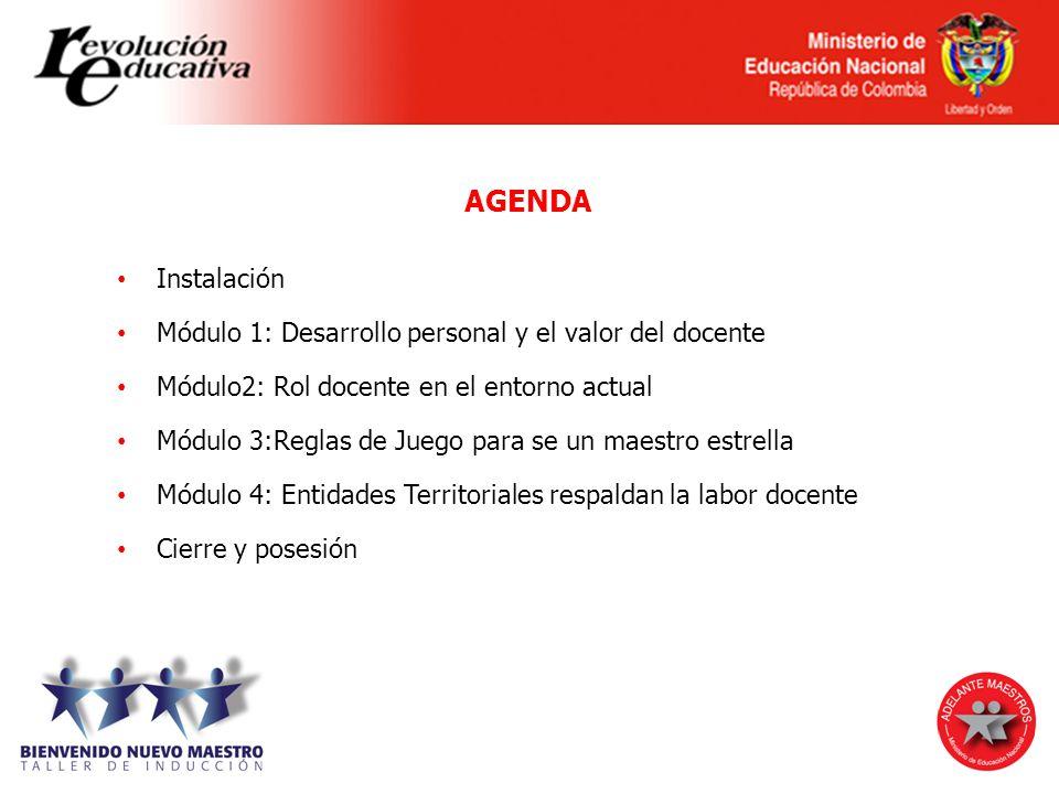 AGENDA Instalación Módulo 1: Desarrollo personal y el valor del docente Módulo2: Rol docente en el entorno actual Módulo 3:Reglas de Juego para se un