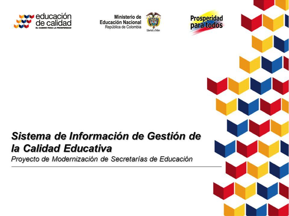 Sistema de Información de Gestión de la Calidad Educativa Proyecto de Modernización de Secretarías de Educación