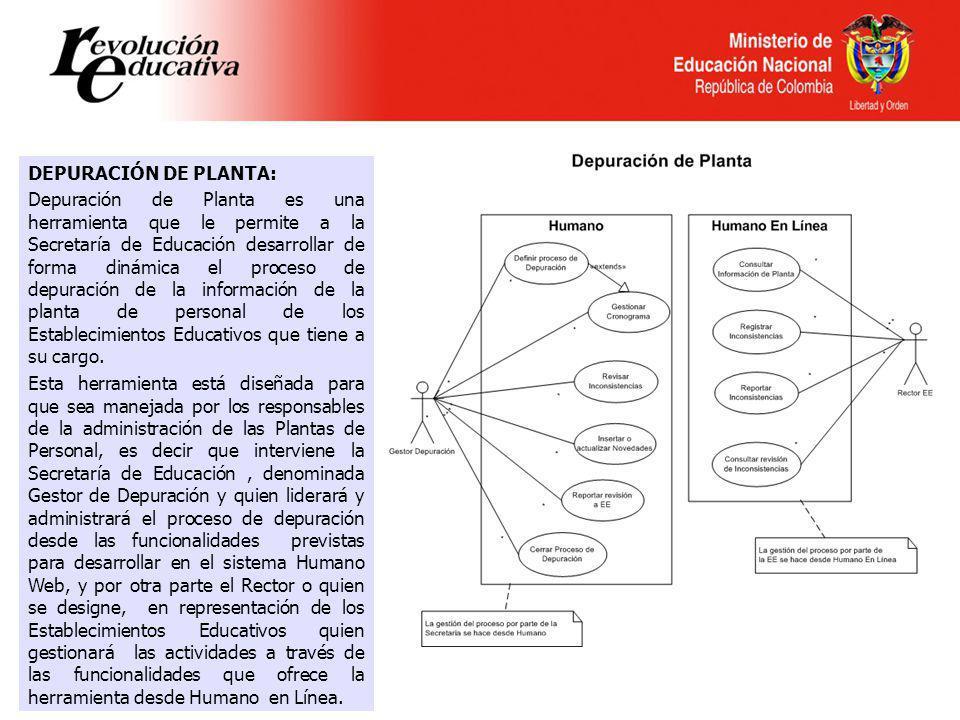 Ministerio de Educación Nacional República de Colombia DEPURACIÓN DE PLANTA: Depuración de Planta es una herramienta que le permite a la Secretaría de