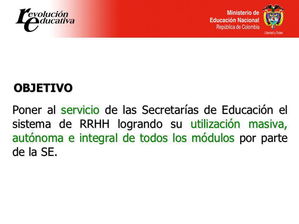 Ministerio de Educación Nacional República de Colombia Poner al servicio de las Secretarías de Educación el sistema de RRHH logrando su utilización ma