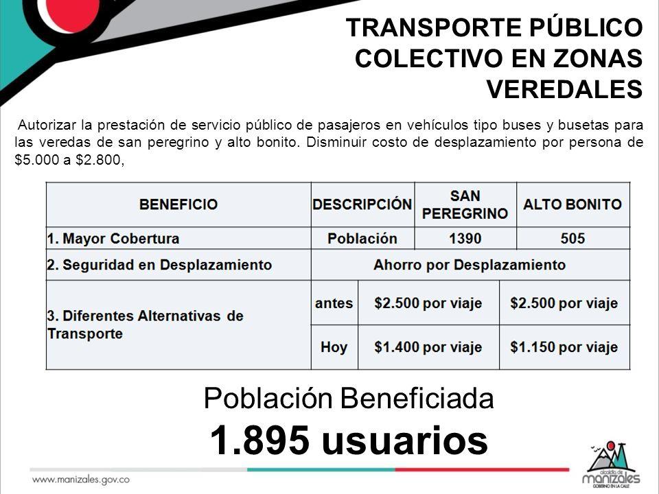 TRANSPORTE PÚBLICO COLECTIVO EN ZONAS VEREDALES Autorizar la prestación de servicio público de pasajeros en vehículos tipo buses y busetas para las ve
