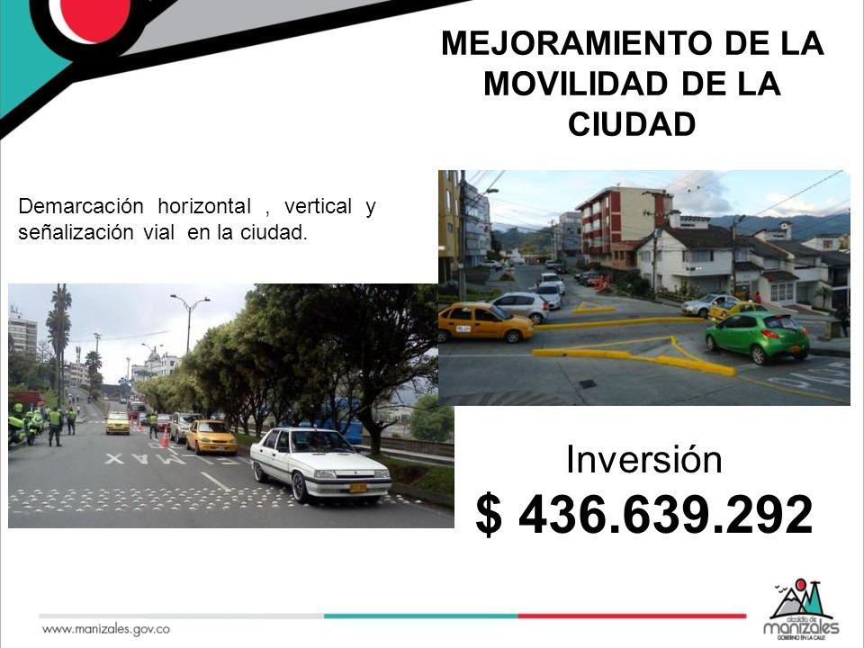 MEJORAMIENTO DE LA MOVILIDAD DE LA CIUDAD Demarcación horizontal, vertical y señalización vial en la ciudad. Inversión $ 436.639.292