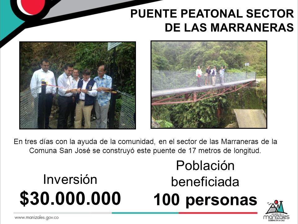 PUENTE PEATONAL SECTOR DE LAS MARRANERAS En tres días con la ayuda de la comunidad, en el sector de las Marraneras de la Comuna San José se construyó
