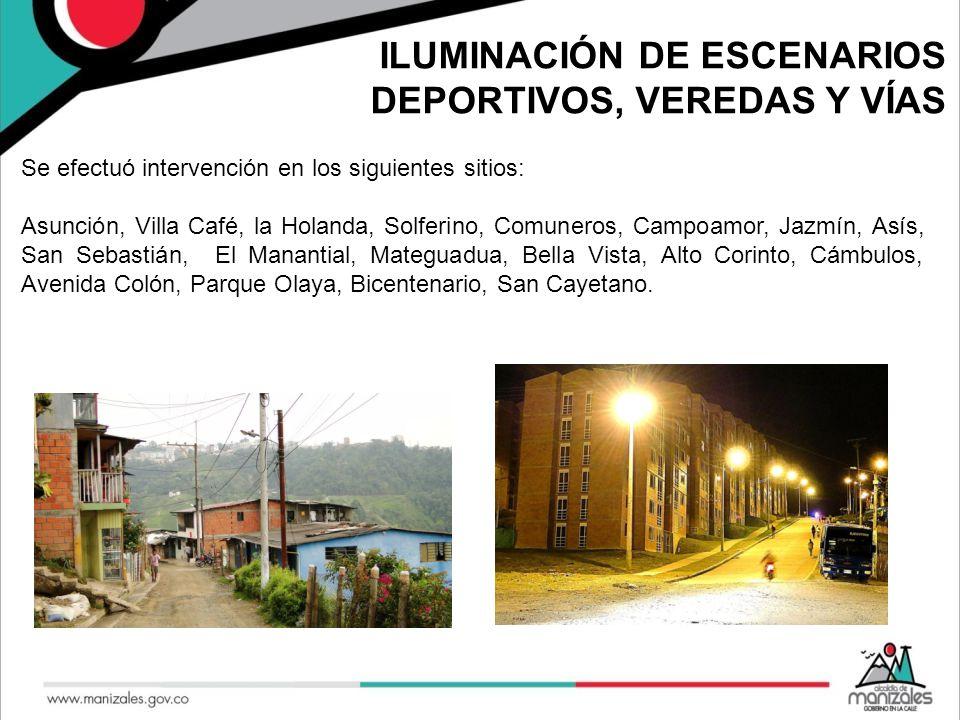 ILUMINACIÓN DE ESCENARIOS DEPORTIVOS, VEREDAS Y VÍAS Se efectuó intervención en los siguientes sitios: Asunción, Villa Café, la Holanda, Solferino, Co