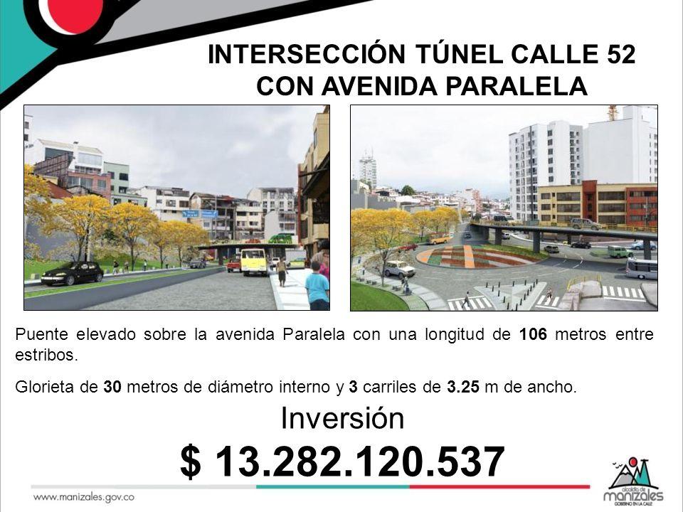 Puente elevado sobre la avenida Paralela con una longitud de 106 metros entre estribos. Glorieta de 30 metros de diámetro interno y 3 carriles de 3.25